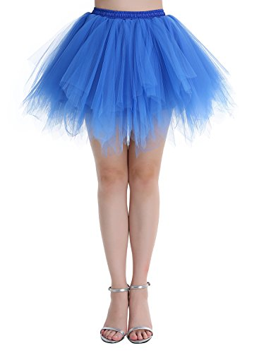 Unicorn Dance Costume (Dressystar Women's 1950s Tulle Tutu Party Dance Skirt Multi-layer Royal Blue S)