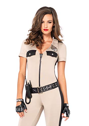 Leg Avenue Women's 4 Piece Deputy Patdown Police Costume, Tan, Large
