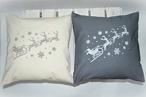 Amazon.com: Christmas Throw Pillow Cover - White Reindeer ...