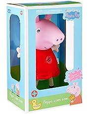 Pelúcia Peppa Pig Cabeça De Vinil Com Som Brinquedos Estrela Multicor 34 Cm