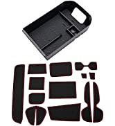JDMCAR Custom Liners (Red Trim) and Center Console Organizer Compatible with 2021 2020 2019 RAV4 ...