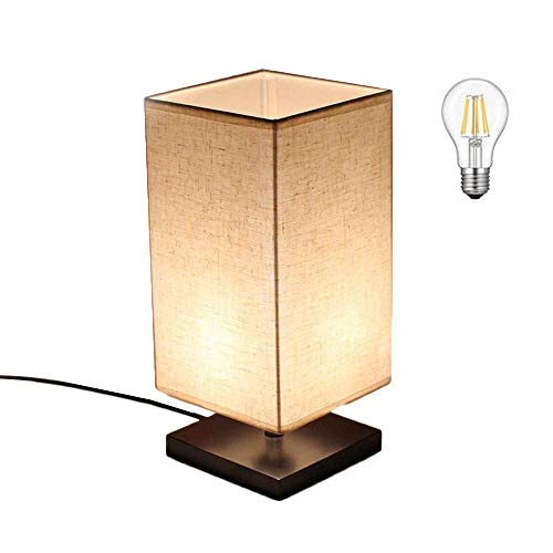 Minimalist Modern Design Bedside Table Lamp, LED Fabric Nightstand Desk Lamp, with Square Fabric Shade Wooden Base for Bedroom, Living Room, Kids Room, Office Study,College ()