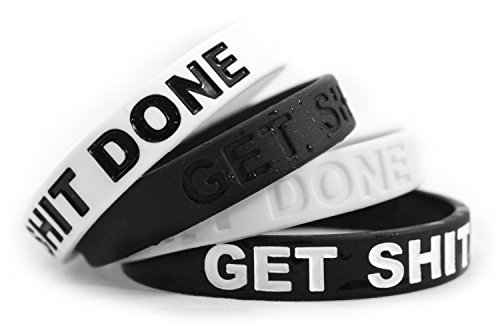 Fitdom Inspirational Silicone Wristbands for Adults with Custom Embossed Motivational Sayings Get Shit Done. Perfect Inspiration for Fitness, Basketball, Crossfit, Workout & ()