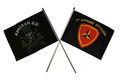 ALBATROS 12 inch x 18 inch Mess Best with 3rd USMC Marine Division Stick Flag for Home and Parades, Official Party, All Weather Indoors Outdoors