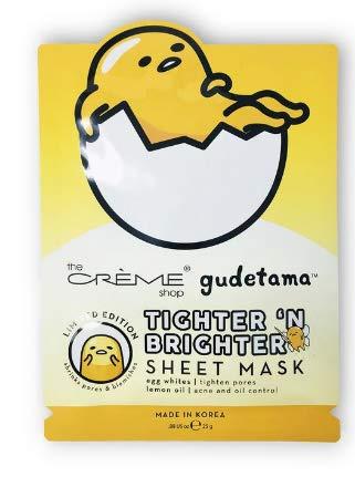 The Crème Shop x Sanrio Sheet Mask (Gudetama Tighter 'N Brighter) (Egg White And Lemon For Acne Scars)