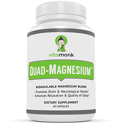 Quad Magnesium™ Supplement Blend by Vitamonk - High Absorption Magnesium Complex for Sleep, Brain Function, Heart and Mood - Glycinate Chelate, Orotate, Taurate and Di-Magnesium Malate - 60 Capsules