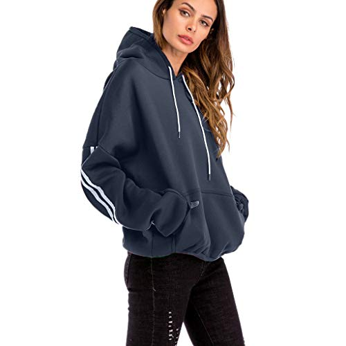 Women Plus Size Casual Solid Hooded Blouse Loose Striped Pocket Sweatshirt -