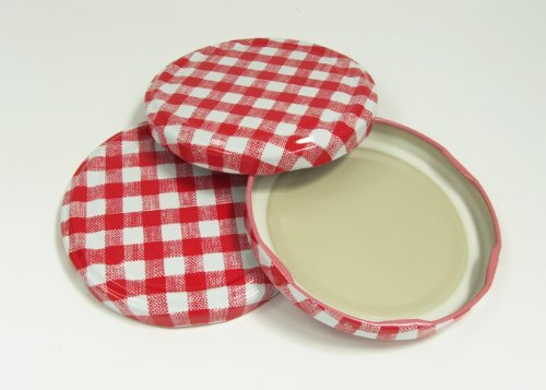 12 Red Gingham Lids for Jam Jars, 82mm diameter