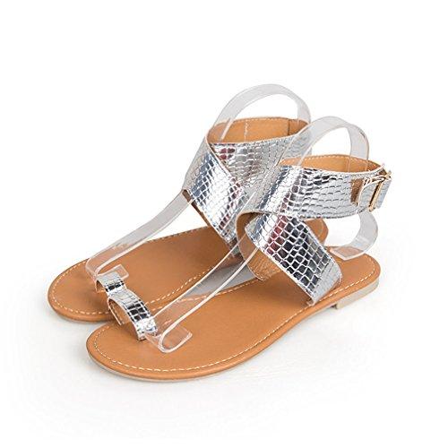 Sandalias Elegante Sandalias Yying Punta Mujer Playa Respirable Planas Correas Cruzar Astilla Boho Abierta Casual Verano Chancletas Primavera Romano Zapatos 5axqwzR4