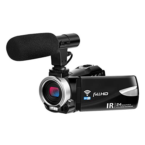 Camcorder with Microphone FHD 1080P 30 FPS 24.0 MP Video Camera Camcorders WiFi Night Vision Vlogging Camera 16X Digital Zoom HDMI Output (V1)