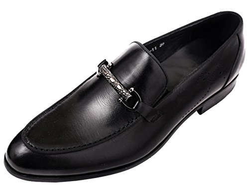 H Casual Loafers Style Buckle Black Men Shoes for Venetian by Slip Dress on Santimon Penny nqYv70w7