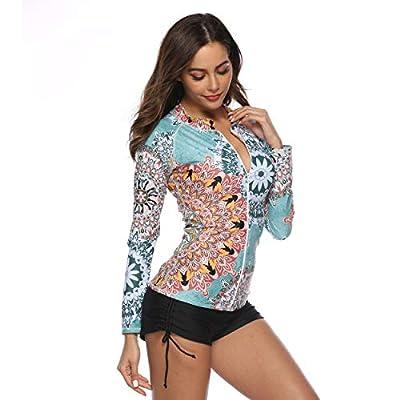 Caracilia Women's UPF 50+ Full Zip Front Long Sleeve Top Rashguard Hoodie Swimsuit(no Pant) at Women's Clothing store