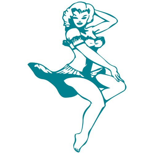 Navy Pin-Up Girl Decal Sticker (turquoise, 5 inch)