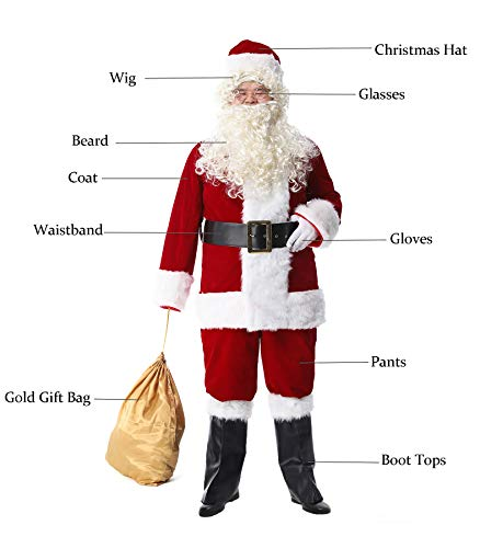 Obosoyo Mens Deluxe Santa Suit 10pc. Christmas Ultra Velvet Adult Santa Claus Costume