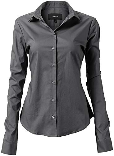 Harrms Women Slim Fit Stretchy Cotton Gray Button Down Shirts Size 8