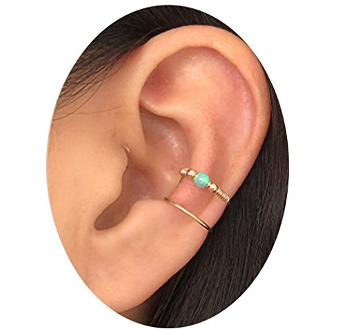 Double Wrap Cuff - HOMEYU Handmade Opal Ear Cuff Wrap Earring, Double Ear Cuff, No Piercing, Cartilage Ear Cuff, Fake Cartilage Earring,14 K Gold Filled Wire