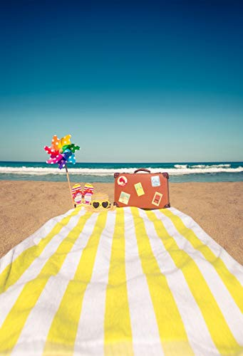 Leowefowa 7x9ft Summer Holiday Backdrop Sand Beach Blue Sea Sky Vinyl Photography Backgrouds Coast Relaxing Vacation Female Handbag Hat Slipper Sunglasses Windmill White and Yellow Stripes Carpet -