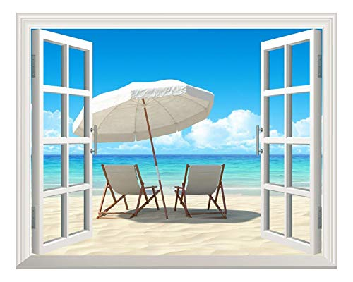 Removable Wall Sticker Wall Mural Chairs on The White Beach Out of The Open Window Wall Decor