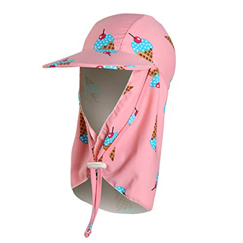 LLmoway Girls UPF50+ Sun Cap with Neck Flap Summer Quick Dry Kids Beach Hat with Chin Strap, Pink Ice Cream, Large