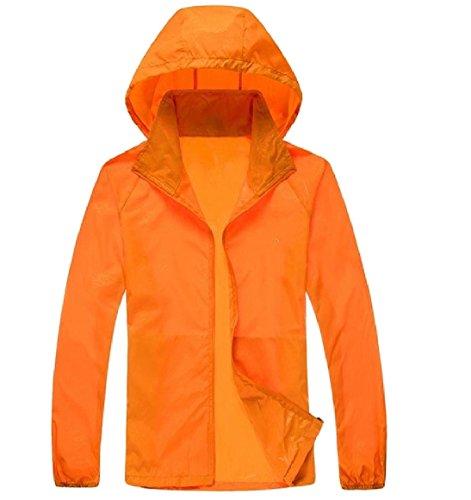 Cerniera Cappuccio Protezione Puro Del Con College donne Arancione Howme Solare Giacca Colore Asciutto Rapido wqXEZn5x