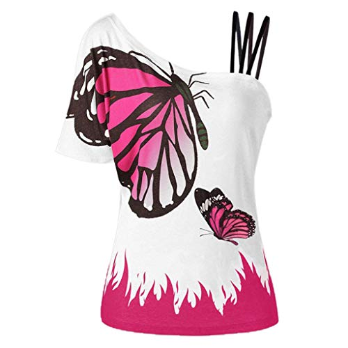 Women Tops Summer Plus Size Blouse Casual Short Sleeve Strapless T-Shirt Butterfly Printing Blouse Shirts Hot Pink