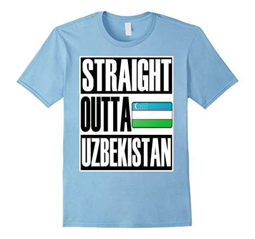 Men's Storecastle Straight Outta Uzbekistan Pride Flag T-Shirt 3XL Baby Blue