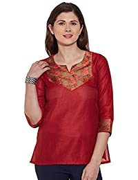 Kokom Silk Tunic Top 3/4 Sleeve Short Kurti Indian Ethnic Blouse
