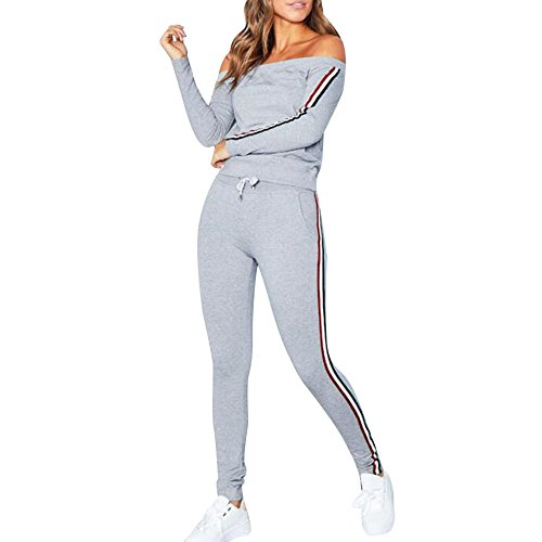 Dreamyth-Winter 2Pcs Womens Tracksuit Sweatshirt Top Pants Sets Sport Wear Casual Suit (Gray, S Bust:90cm/35.4