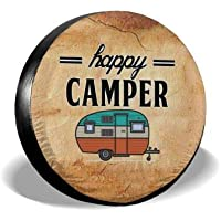 MSGUIDE Happy Camper Tire Covers Spare Wheel Cover for RV Jeep Wrangler Trailer 14 15 16 17 Inch Water-Proof Dust-Proof and Sun Protection