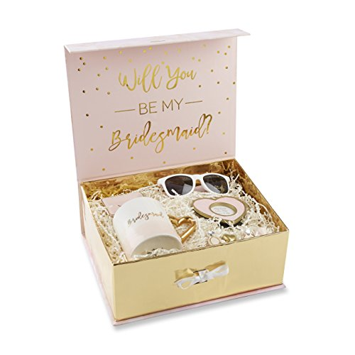 Kate Aspen Pink and Gold Will You Be My Bridesmaid Kit Gift Set, Pink, White and Gold