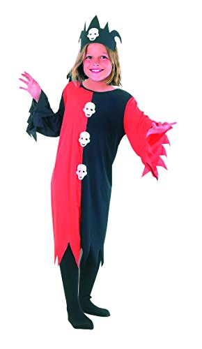 Clown Halloween Costume Uk (Boys Girls Halloween Skull Clown Children Costume Age 4-12 Years (Large (Age 10-12 Years), Black/Red))