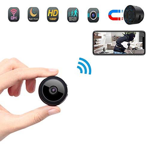 Spy Camera Wireless Hidden Camera, HD 1080P Mini Portable Home Security Battery Powered Covert Nanny Cam, Small Indoor Video Recorder Magnet/Motion Activated Night Vision Monitoring