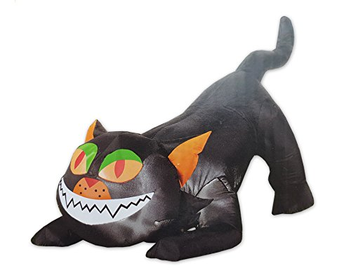 Self Inflating Pouncing Black Cat Light Up Halloween Decoration Inflatable, 4 Feet Long (48