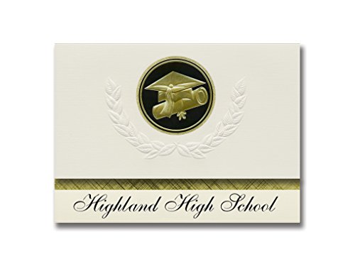 Cap Hardy Style - Signature Announcements Highland High School (Hardy, AR) Graduation Announcements, Presidential style, Elite package of 25 Cap & Diploma Seal. Black & Gold.