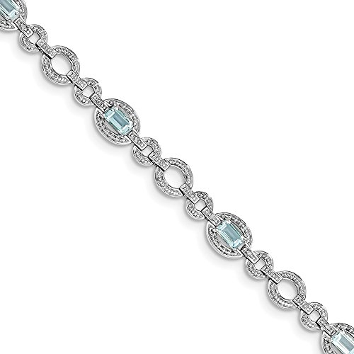 Solid 925 Sterling Silver Diamond & Lt Swiss December Simulated Birthstone Blue Simulated Topaz Oval Link Tennis Bracelet 7.5