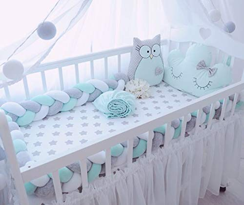 JUMO CYLY Baby Crib Bumper Plush Nursery Cradle Decor Knotted Braided Junior Bed Sleep Safety Bedside Padded Plush Cushion for Newborn Gift (118 inch)