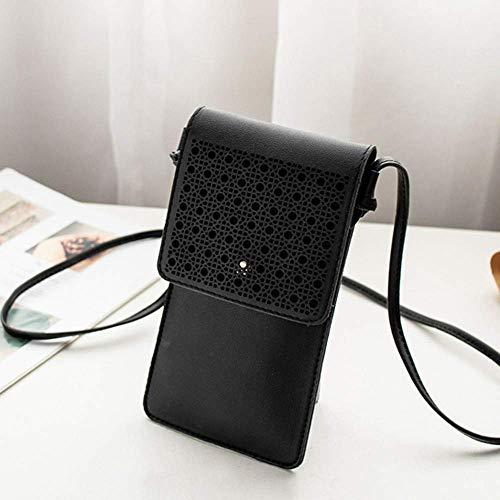 Phone Bag Mini Texture Coin with Shoulder Wallet Purse Cross body Hollow Leather Bag Black Handbag Womens Cell NYKKOLA Strap H1BRYz