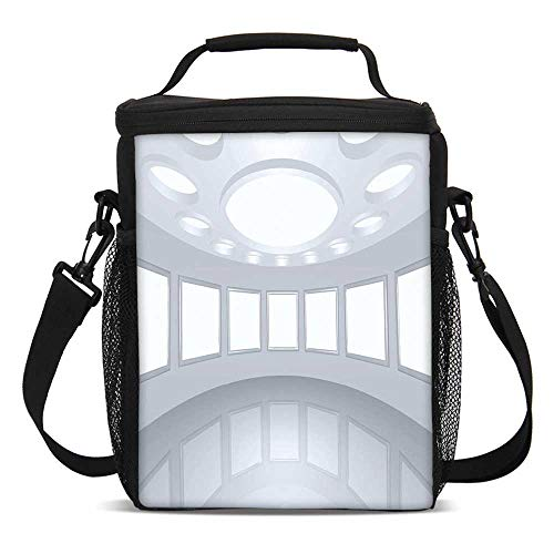 Modern Decor Fashionable Lunch Bag,3D Visualization of Futuristic Interior Empty Picture Gallery Architecture for Travel Picnic,One size