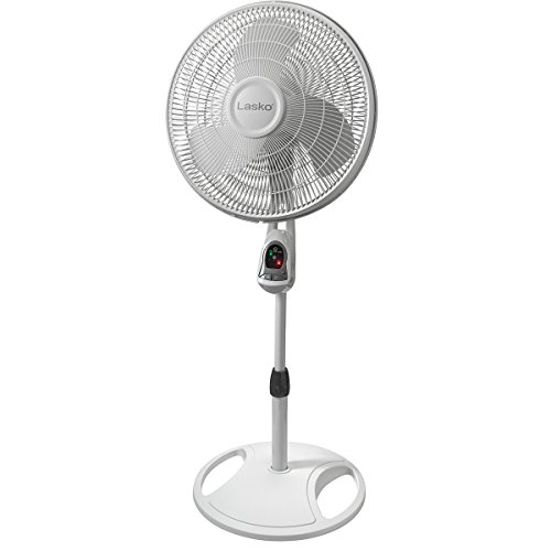 Lasko 1646 16″ Remote Control Pedestal Fan with Built-in Timer, White - Features Oscillating Movement and Adjustable Height