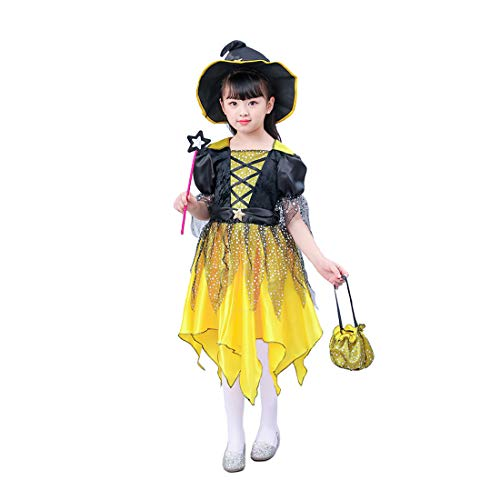 Halloween Costumes for Girls, Child's Witch Princess Fancy Dress with Witch Hat, Pumpkin Candy Bag & Magic Wand (Small 4-6) Golden & Black