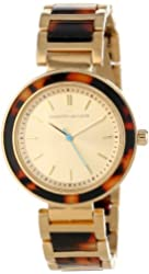 Kenneth Jay Lane Women's KJLANE-2003  Gold Dial Gold Ion-Plated Stainless Steel and Brown Tortoise Resin Watch