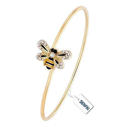 SENFAI Latest Crystal Bee Hook Open Bracelet and Souvenir for Women or Girl