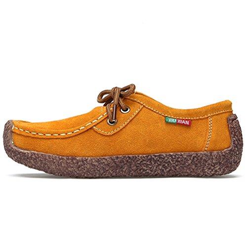 Mocassins Suédé En Chaussures Britannique Femmes Plat Bateau 35 42 Style Jrenok Escargot Cuir Loisir Jaune Casuel dwqFdA
