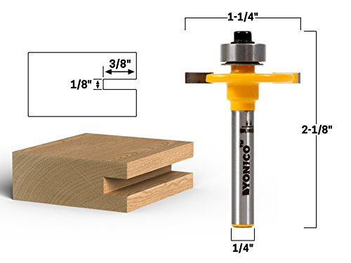 Yonico 14081q 1/8-Inch Height X 3/8-Inch Depth Slot Cutter Router Bit 1/4-Inch Shank