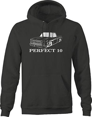 (Bold Imprints Perfect 10 Chevy C10 Fleetside 1973-87 Pickup Truck Hooded Sweatshirt -Medium Charcoal)