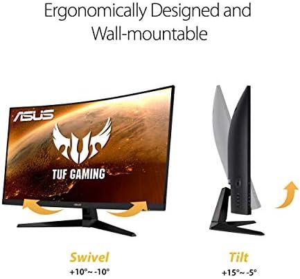 "ASUS TUF Gaming VG32VQ1B 31.5"" Curved Monitor, WQHD (2560 x 1440), 165Hz (Supports 144Hz), 1ms, FreeSync Premium/Adaptive-sync, Extreme Low Motion Blur, HDR10, HDMI DisplayPort (Renewed)"