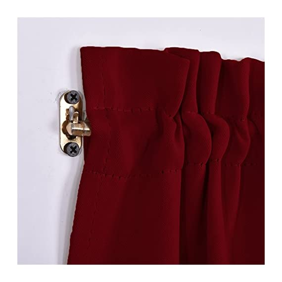 """NICETOWN Blackout Draperies Curtains for Doors - Functional Thermal Insulated Sidelight Blackout Door Panel Curtains Christmas Holiday Decor, 25x72 - Burgundy(2 Panels) - PRODUCT INFO.: Package comes with 2 panels of door curtains. Each panel measuring 25 inches wide by 72 inches long comes with matching adjustable TIEBACK. 2 rod pockets(diameter: 1"""" each)on the both top and bottom sides give the curtains a nice fit. NICE FUNCTION: Made of triple weave blackout material, these blackout door curtains can block 85%-142% harmful lights and UV rays out. By a special weaving way, the curtain prevents hot air in summer and cold wind in winter from entering the room. STYLISH&PRIVACY: Designed for glass / glazed doors. Pure color are suitable the most home decoration styles. Adjustable tie backs can flexible control the light enter into the room, you can tie up for decorating room or full shade for keeping privacy. - living-room-soft-furnishings, living-room, draperies-curtains-shades - 41Fp SloZZL. SS570  -"""
