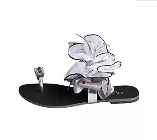 Tongs Fond gray eu39 Fleurs Femmes Chaussons us8 uk6 Gray Shangxian Mode Des Arc Cristal Sandales Diamant Aux Plat cn39 vFxqOqwEH
