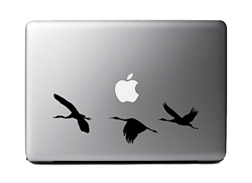 Price comparison product image Asian Inspired Art #5 - Three Cranes Flying Majestically- Black Vinyl Decal for Macbooks and Cars
