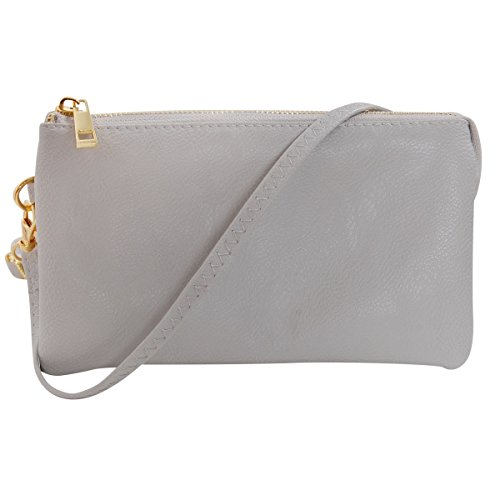 Light Dove - Humble Chic Vegan Leather Small Crossbody Bag or Wristlet Clutch Purse, Includes Adjustable Shoulder and Wrist Straps, Dove Grey, Light Gray